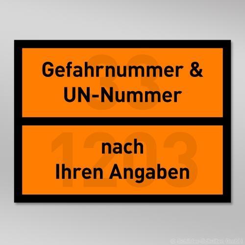 UN-Gefahrentafel Folie 400x300mm mit Wunschnummer