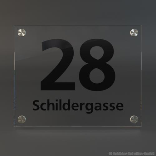 Hausnummernschild 25x20 cm ESG-Glas HNR.210