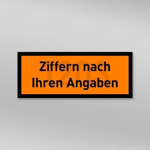 UN-Gefahrentafel Folie 300x120mm mit Wunschnummer
