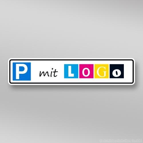 Parkplatzschilder mit Logo 52 x11 cm