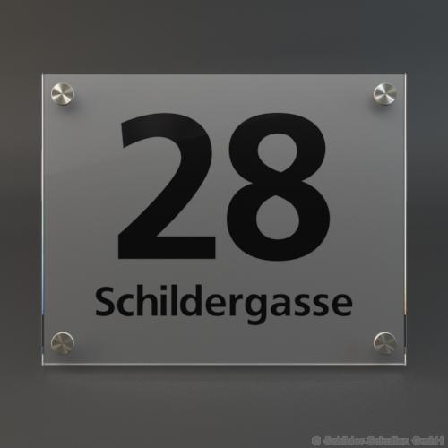 Hausnummernschild 25x20 cm ESG-Glas-Satiniert HNR.230