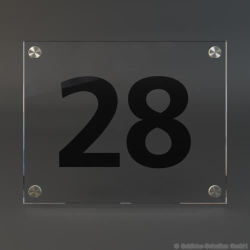 Hausnummernschild 25x20 cm ESG-Glas HNR.200