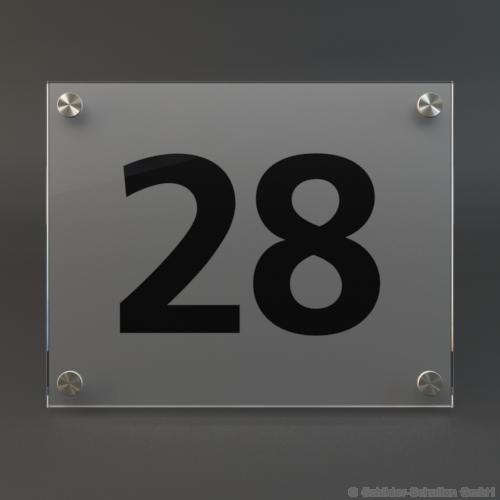 Hausnummernschild 25x20 cm ESG-Glas-Satiniert HNR.220